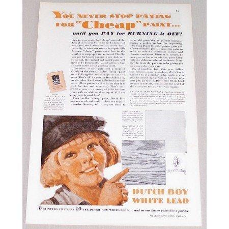 1932 Dutch Boy Paint Vintage Print Color Ad - You Never Stop Paying..