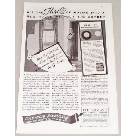 1935 Pittsburgh Paint Products Vintage Print Ad - Thrill Of Moving