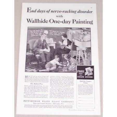 1934 Pittsburgh Plate Glass Co. Vintage Print Ad - One Day Painting