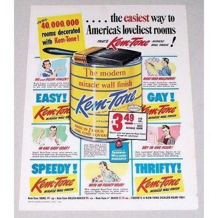 1948 Kem-Tone Wall Paint Color Print Ad - Loveliest Rooms