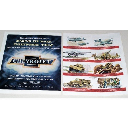 1945 Chevrolet Wartime 2 Page Color Print Ad - Volume For Victory