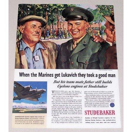 1944 Studebaker Color Wartime Color Print Art Ad MARINES GOT LUCKAVICH