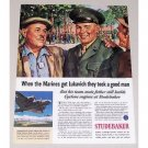 1944 Studebaker Color Wartime Color Print Art Ad MARINES GOT LUCKAVICH