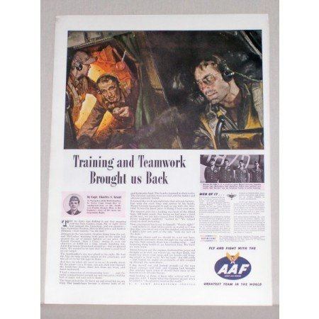 1944 AAF Army Air Force Wartime Art Color Print Ad TRAINING AND TEAMWORK