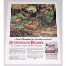 1944 Studebaker Weasel Cargo Carrier Color Wartime Art Color Print WWII Ad