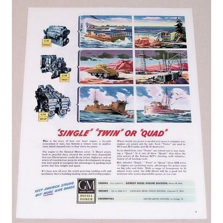 1945 GM Diesel Color Wartime Art Color Print Ad SINGLE TWIN OR QUAD