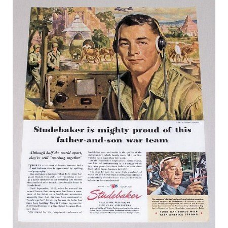 1945 Studebaker Color Wartime Color Print Art Ad FATHER SON WAR TEAM