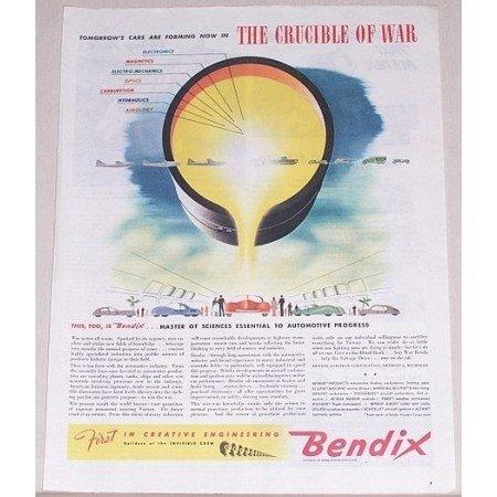 1945 Bendix Aviation Corp. Color Wartime Art Color Print Ad CRUCIBLE OF WAR