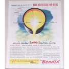 1945 Bendix Aviation Corp. Color Wartime Art Color Print Ad CRUCIBLE OF WAR