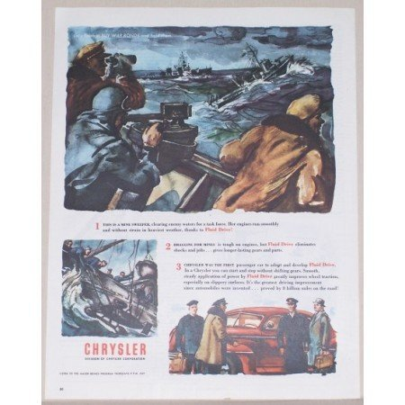 1945 Chrysler Color Wartime Art Color Print Ad OCEAN MINE SWEEPERS