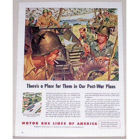 1944 Motor Bus Lines Color Wartime Color Print WWII Ad - Post War Plans