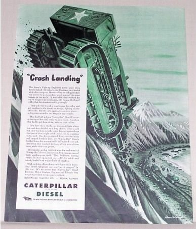 1944 Caterpillar Diesel Wartime Color Print Art Ad CRASH LANDING