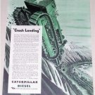 1944 Caterpillar Diesel Wartime Color Print Art Ad CRASH LANDING