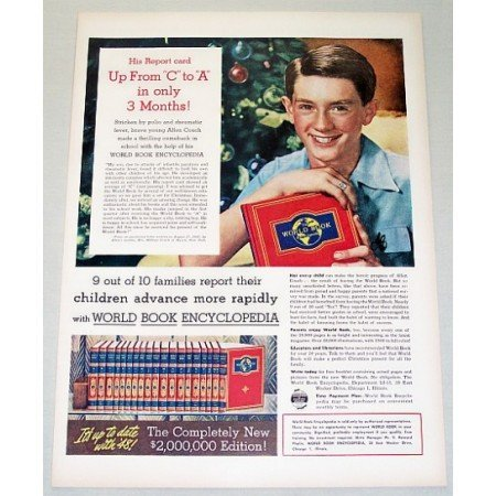 1948 World Book Encyclopedia Color Print Ad Up From C To A
