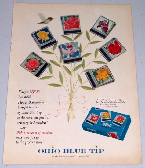 1955 Ohio Blue Tip Flower Bookmatches Color Print Ad