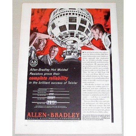 1962 Allen Bradley Electronic Components Color Print Art Ad