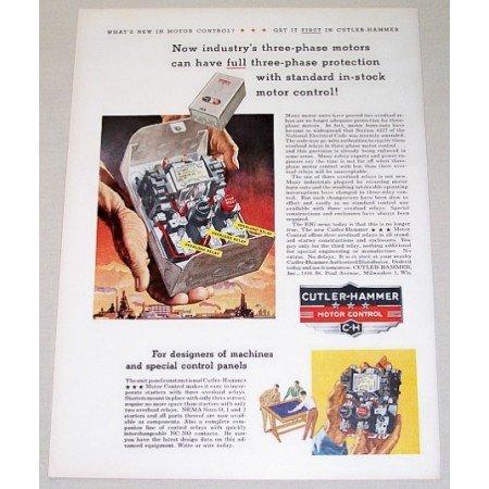 1954 Cutler Hammer Motor Control Color Print Art Ad Three Phase