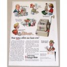 1957 Pitney Bowes Postage Meter Color Print Ad