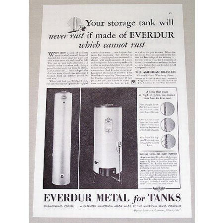 1934 Everdur Metal For Tanks Vintage Print Ad