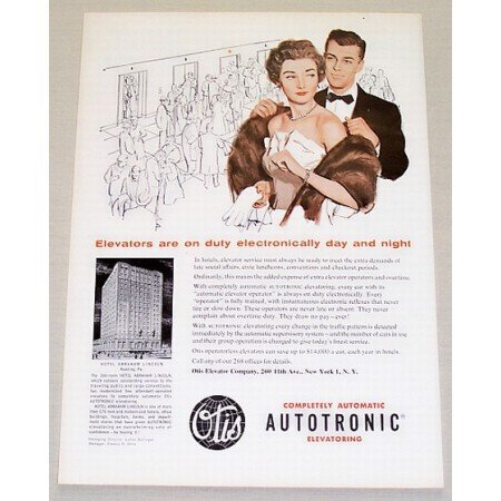 1955 Otis Elevator Company Color Print Ad Autotronic Elevatoring