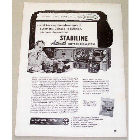 1953 Stabiline Automatic Voltage Regulators Vintage Print Ad