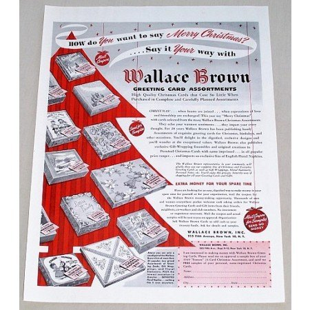 1949 Wallace Brown Greeting Cards Color Print Ad