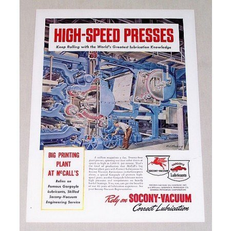1949 Socony Vacuum Gargoyle Lub Printing Press Color Print Art Ad