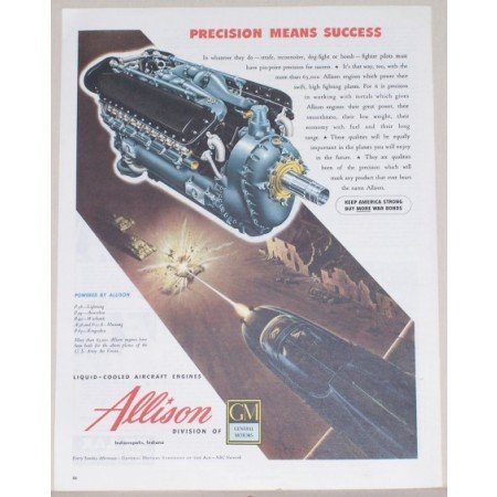 1945 Allison Liquid Cooled Aircraft Engines Color Print Ad