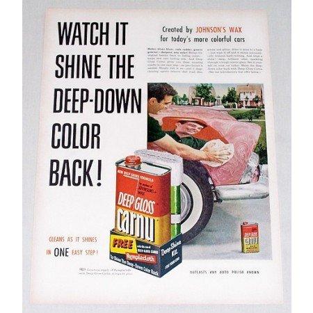 1955 Johnson's Car Wax Deep Gloss Carnu Color Print Ad