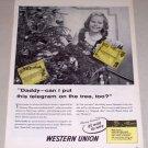 1954 Western Union Telegram Christmas Vintage Print Ad