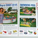 1955 Doughboy Backyard Beach Swimming Pool Two Page Color Print Ad
