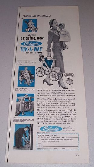1954 Columbia Tuk-A-Way Baby Stroller Vintage Print Ad