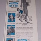 1954 Columbia Tuk-A-Way Baby Stroller Vintage Print Ad