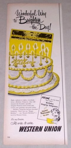 1953 Western Union Telegrams Birthday Cake Color Print Ad