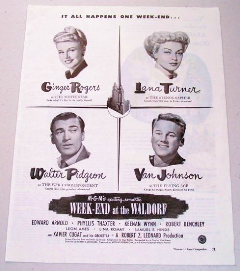 1945 Vintage Movie Ad WEEK-END AT THE WALDORF Celebrity Ginger Rogers Lana Turner