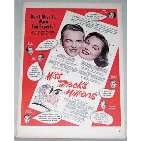 1948 Color Print Movie Ad for Miss Tatlocks Millions Celebrity John Lund