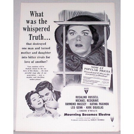 1948 Vintage Movie Ad Mourning Becomes Electra Celebrity Rosalind Russell
