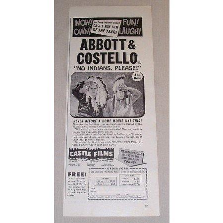 1948 Vintage Movie Ad No Indians Please Celebrity Abbott and Costello