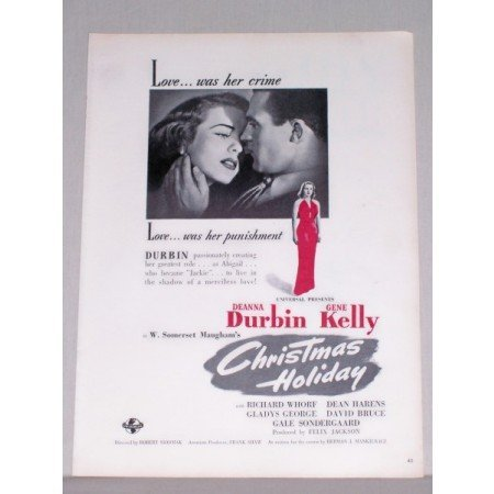 1944 Vintage Movie Ad Christmas Holiday Celebrity D. Durbin G Kelly