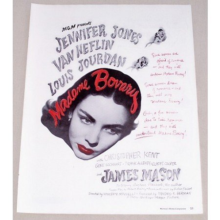 1949 Vintage Movie Ad Madame Celebrity Bovary Jones Heflin Jourdan