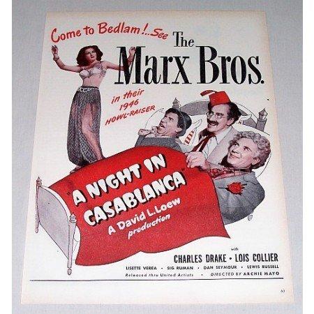 1946 Color Print Movie Ad Night In Casablanca Celebrity Marx Bros.