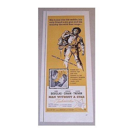 1955 Vintage Movie Ad Man Without A Star Celebrity K Douglas