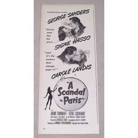 1946 Vintage Movie Ad A SCANDAL IN PARIS Celebrity Sanders Hasso