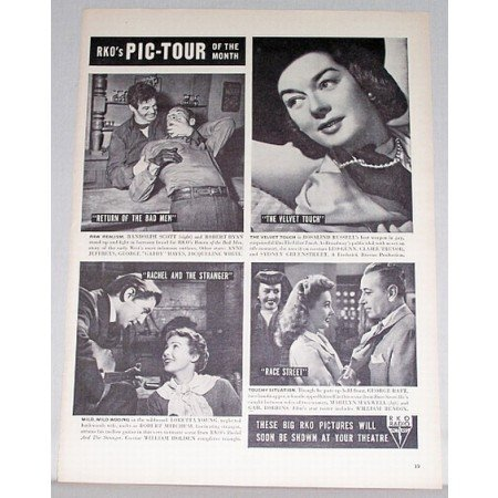 1948 RKO Picture Tour Vintage Ad Celebrity Rosaland Russell