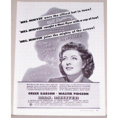 1942 Vintage Movie Ad Mrs. Miniver Celebrity Greer Garson