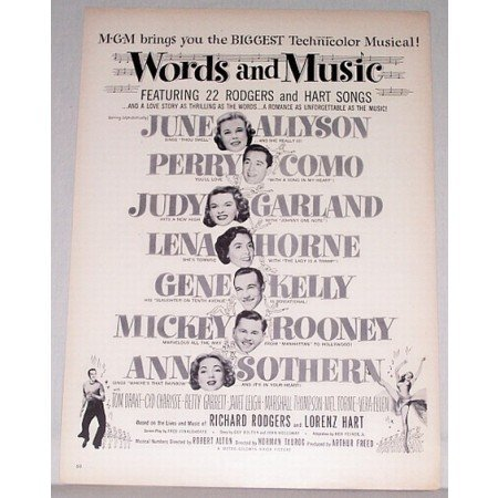 1948 Vintage Movie Ad WORDS and MUSIC Celebrity Judy Garland Mickey Rooney