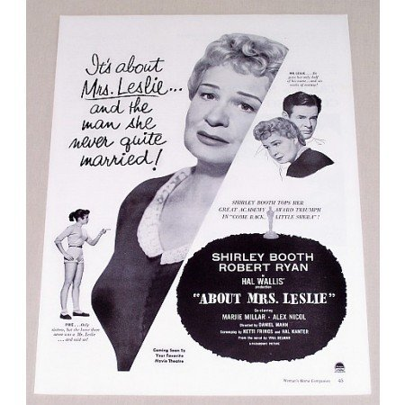 1954 Vintage Movie Ad ABOUT MRS LESLIE Celebrity Shirley Booth Robert Ryan