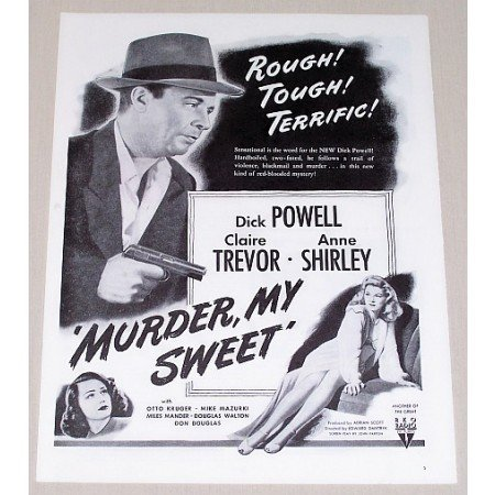 1945 Vintage Movie Ad MURDER MY SWEET Celebrity Dick Powell Ann Shirley