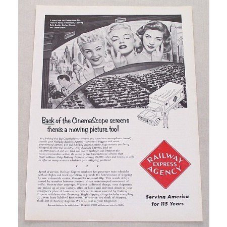 1954 Railway Ad HOW TO MARRY A MILLIONAIRE Celebrity Betty Grable Marilyn Monroe Lauren Bacall