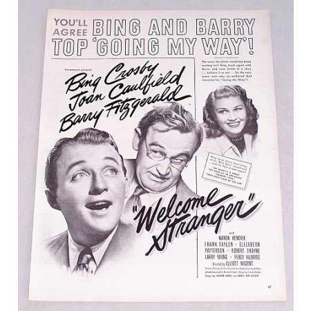 1947 Vintage Movie Ad WELCOME STRANGER Celebrity Bing Crosby Joan Caulfield